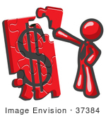 #37384 Clip Art Graphic Of A Red Guy Character Assembling A Financial Puzzle