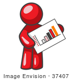 #37407 Clip Art Graphic Of A Red Guy Character Holding A Printed Bar Graph