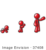 #37408 Clip Art Graphic Of A Red Guy Character Growing From A Baby To An Adult