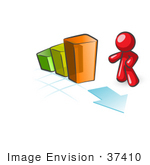 #37410 Clip Art Graphic of a Red Guy Character With a Bar Graph by Jester Arts