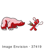 #37419 Clip Art Graphic Of A Red Guy Character Taming A Bear