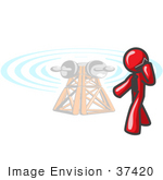 #37420 Clip Art Graphic Of A Red Guy Character Talking On A Cell Phone By A Tower