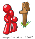 #37422 Clip Art Graphic Of A Red Guy Character And Child At A Crossroads
