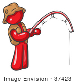 #37423 Clip Art Graphic Of A Red Guy Character Fishing