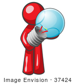 #37424 Clip Art Graphic Of A Red Guy Character Holding A Light Bulb