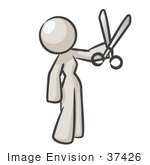 #37426 Clip Art Graphic Of A White Lady Character Holding Scissors