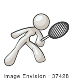 #37428 Clip Art Graphic Of A White Lady Character Playing Tennis