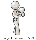 #37429 Clip Art Graphic Of A White Lady Character Carrying A Child