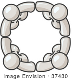 #37430 Clip Art Graphic Of White Guy Characters Standing In A Circle