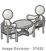 #37432 Clip Art Graphic Of White Guy Characters Talking At A Table