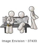 #37433 Clip Art Graphic Of White Guy Characters Waiting At A Bus Stop