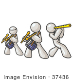 #37436 Clip Art Graphic Of White Guy Characters Playing Flutes And Drums In A Band