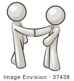 #37438 Clip Art Graphic Of White Guy Characters Shaking Hands