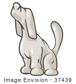 #37439 Clip Art Graphic Of A White Dog Howling Or Sniffing