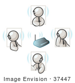 #37447 Clip Art Graphic Of White Guy Characters Holding A Phone Conference With Bluetooth Headsets