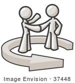 #37448 Clip Art Graphic Of White Guy Characters Shaking Hands In A Circular Arrow