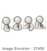 #37450 Clip Art Graphic Of White Guy Characters Using Headsets