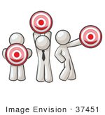 #37451 Clip Art Graphic Of White Guy Characters Holding Targets