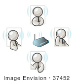 #37452 Clip Art Graphic Of White Guy Characters Holding A Phone Conference Using Headsets