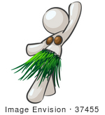 #37455 Clip Art Graphic Of A White Lady Character Hula Dancing by Jester Arts