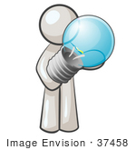#37458 Clip Art Graphic of a White Guy Character Holding a Light Bulb by Jester Arts