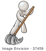 #37459 Clip Art Graphic Of A White Guy Character Mopping