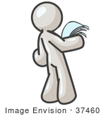 #37460 Clip Art Graphic Of A White Guy Character Reading A Letter