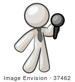#37462 Clip Art Graphic Of A White Guy Character Holding Out A Microphone by Jester Arts