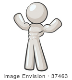 #37463 Clip Art Graphic Of A White Guy Character Flexing His Muscles