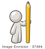 #37464 Clip Art Graphic Of A White Guy Character Standing With A Pencil