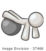 #37466 Clip Art Graphic Of A White Guy Character Exercising With A Yoga Ball