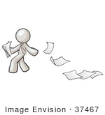 #37467 Clip Art Graphic of a White Guy Character Dropping Papers by Jester Arts