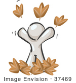 #37469 Clip Art Graphic Of A White Guy Character Playing In Leaves