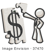 #37470 Clip Art Graphic Of A White Guy Character Assembling A Financial Puzzle