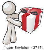 #37471 Clip Art Graphic Of A White Guy Character Holding A Gift