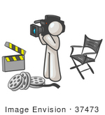 #37473 Clip Art Graphic Of A White Guy Character Filming A Movie