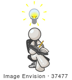 #37477 Clip Art Graphic Of A White Guy Character Jotting Ideas Down