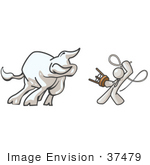 #37479 Clip Art Graphic Of A White Guy Character Taming A Bull