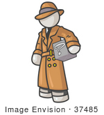#37485 Clip Art Graphic Of A White Guy Character Investigator Carrying A Box