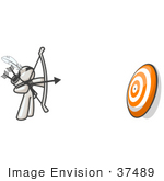 #37489 Clip Art Graphic Of A White Guy Character Shooting Arrows