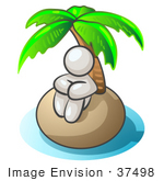 #37498 Clip Art Graphic Of A White Guy Character On An Island