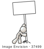 #37499 Clip Art Graphic of a White Guy Character Inserting a Sign in the Ground by Jester Arts