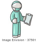 #37501 Clip Art Graphic Of A White Guy Character Surgeon In Scrubs