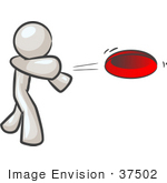 #37502 Clip Art Graphic of a White Guy Character Throwing a Frisbee by Jester Arts