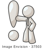 #37503 Clip Art Graphic Of A White Guy Character With An Exclamation Point