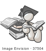 #37504 Clip Art Graphic of a White Guy Character Graduate Reading by Jester Arts