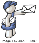 #37507 Clip Art Graphic Of A White Guy Character Delivering Mail