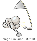 #37508 Clip Art Graphic Of A White Guy Character Trying To Blow A Golf Ball Into A Hole