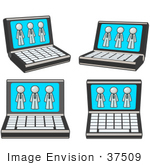 #37509 Clip Art Graphic Of A White Guy Character On Laptop Computer Screens