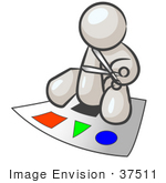 #37511 Clip Art Graphic of a White Guy Character Cutting Shapes by Jester Arts